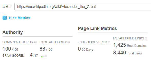 Alexander the Great Stats in Open Site Explorer