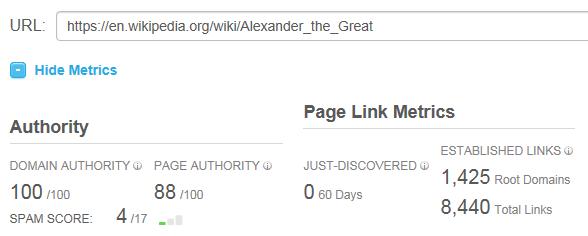 Alexander the Great Stats in Open Site Explorer