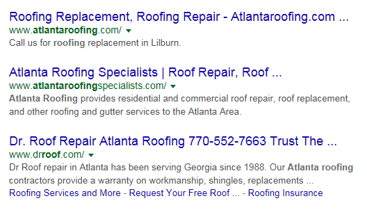 Google Serps Screen Cap for Atlanta Roof