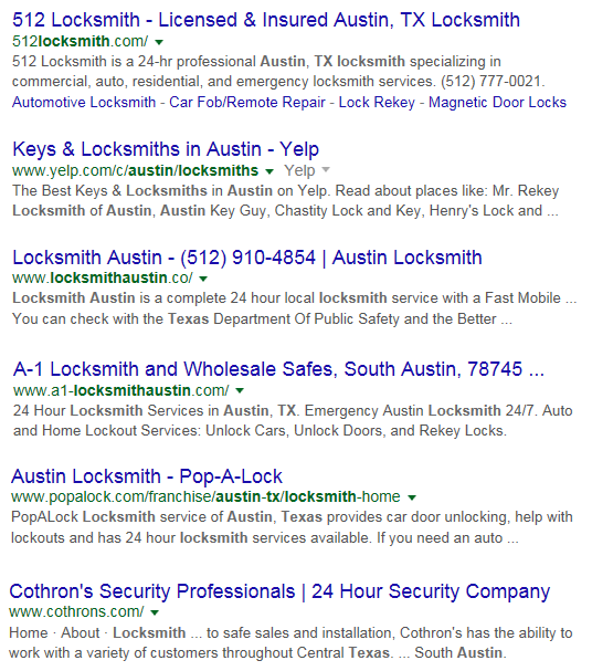 Screen Cap of Google Serps for Austin Tx Locksmith