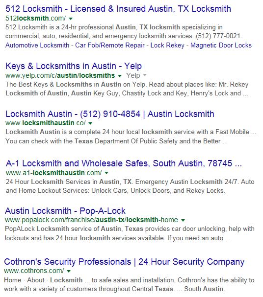 Screen Cap of Google Serps for Austin Tx Locksmith