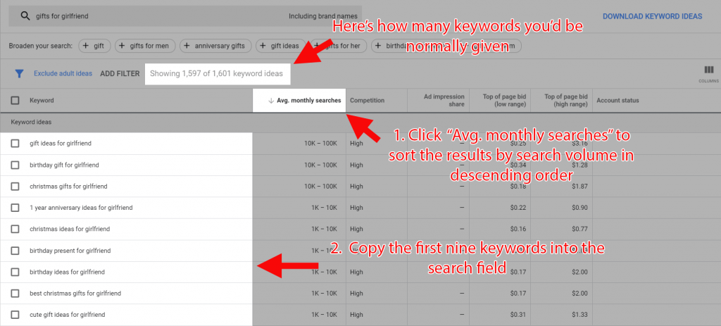 Getting extra keyword suggestions from GKP