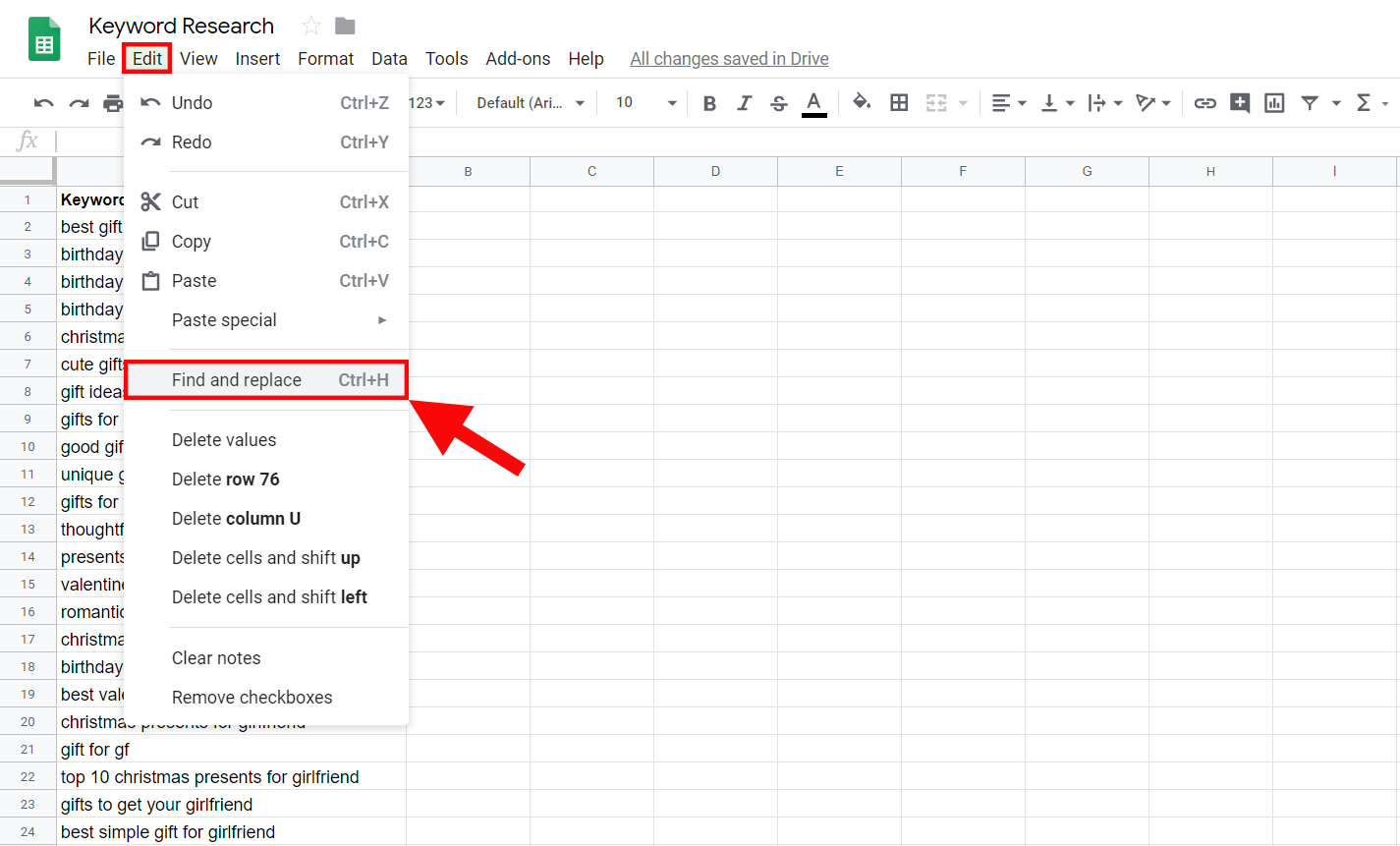 The Find and Replace tool in Google Sheets