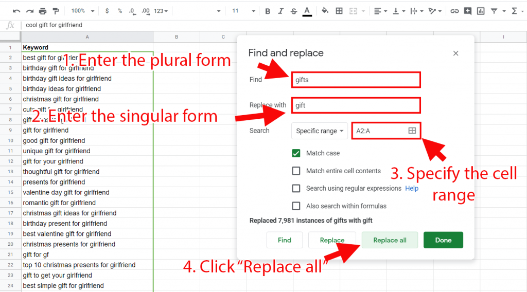 Turn plural nouns into singular nouns by using Google Sheets