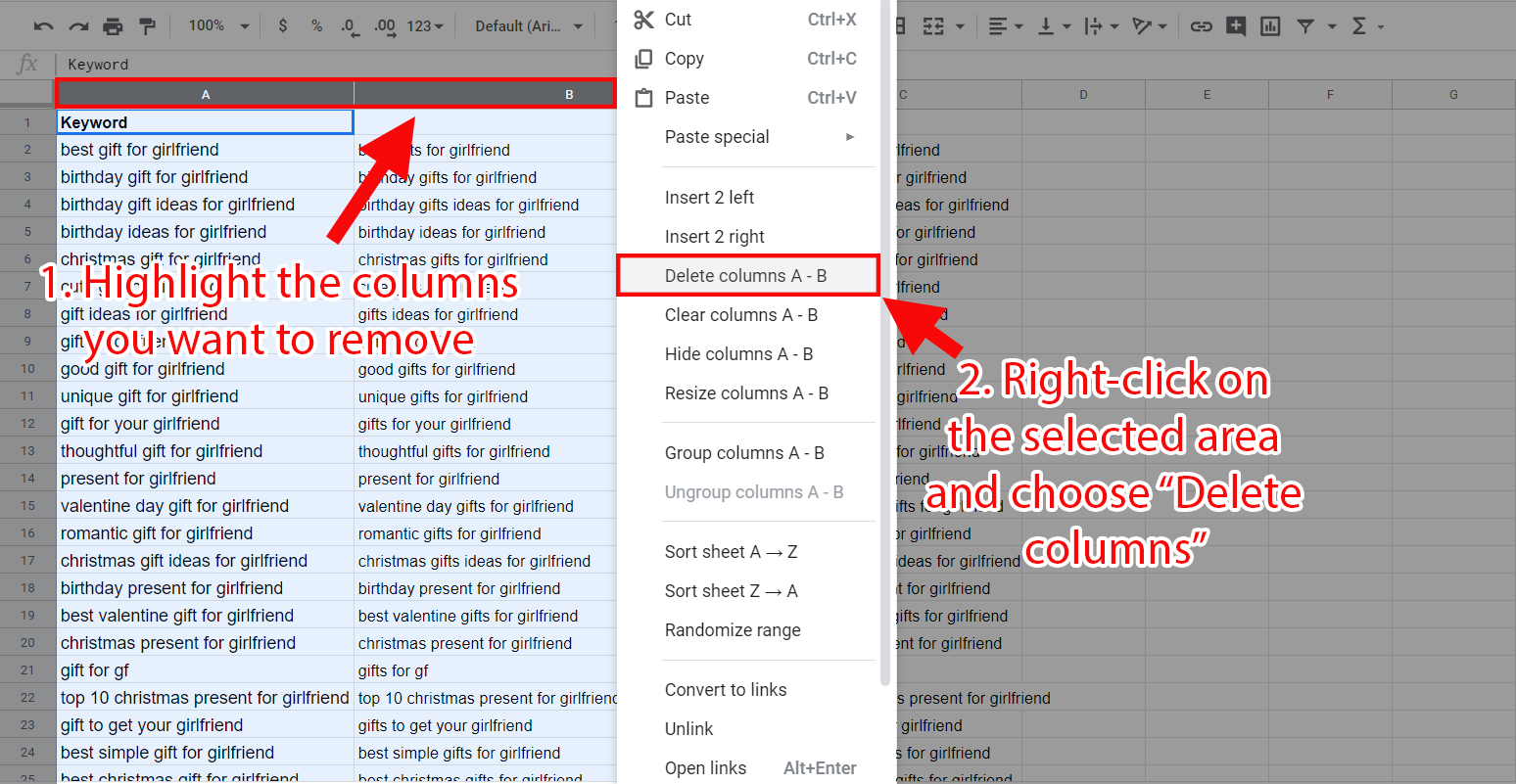 Removing columns in Google Sheets