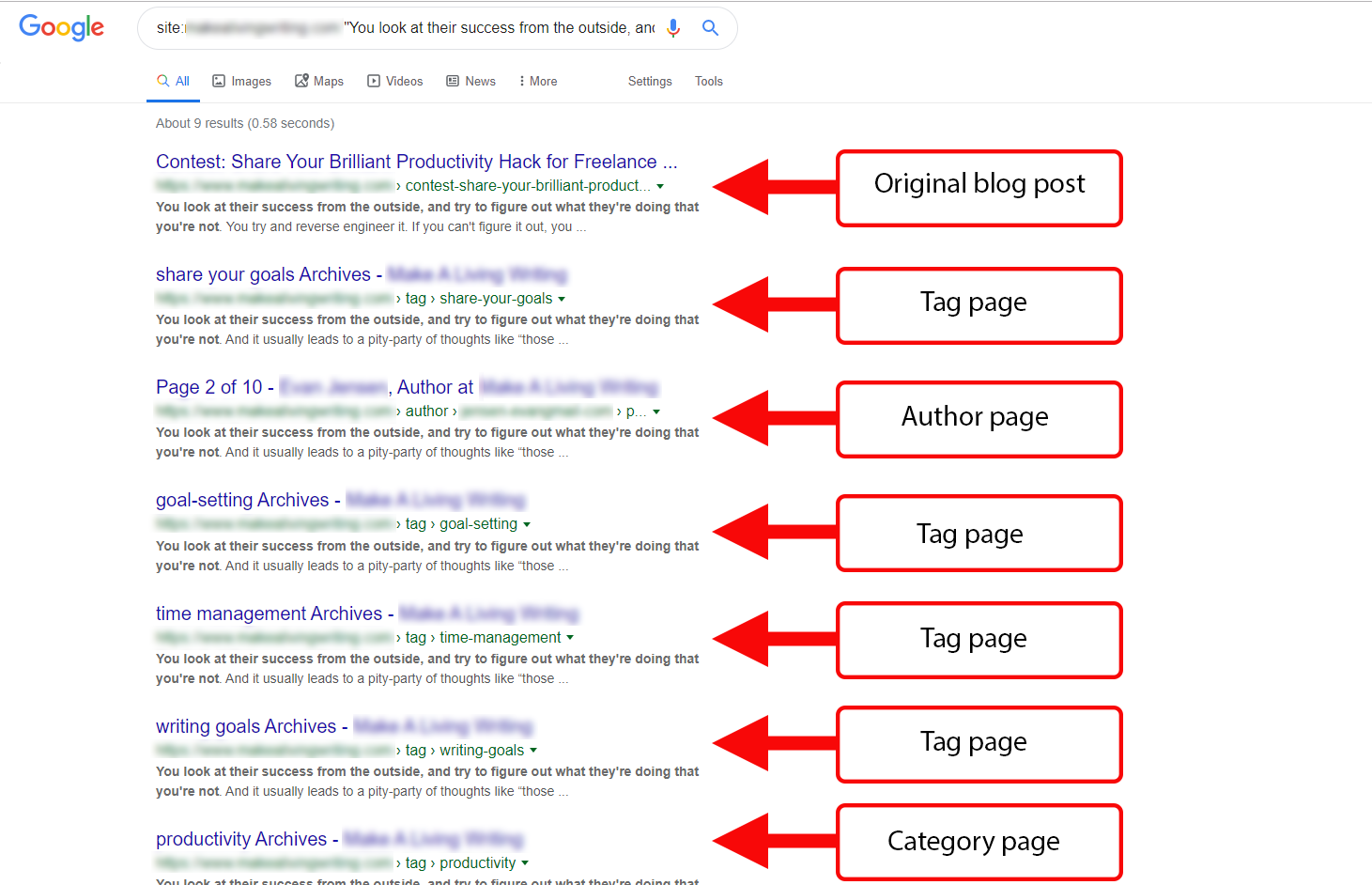 How unoptimized taxonomy pages can clutter the SERP