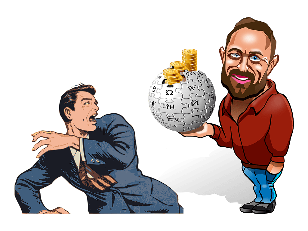 Jimmy Wales holding a globe in front of frightened man