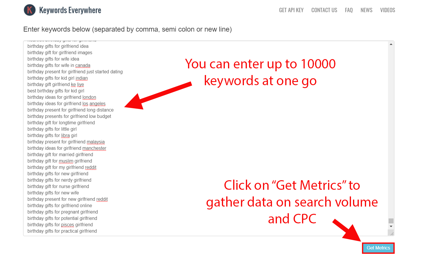 Collecting search volume using Keywords Everywhere