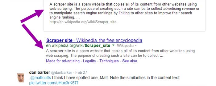 The Infamous Scraper Tweet Reply to Matt Cutts