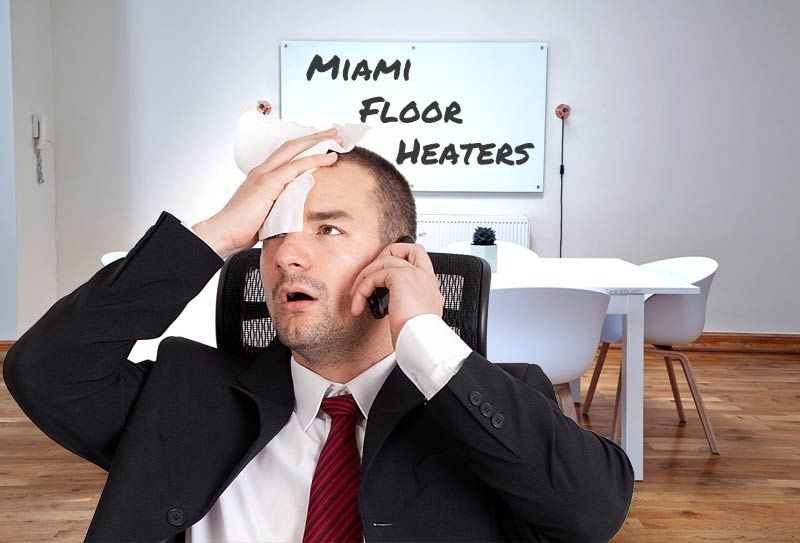 Man sweating who doesn't understand why he can't rank for Miami Floor Heaters keywords