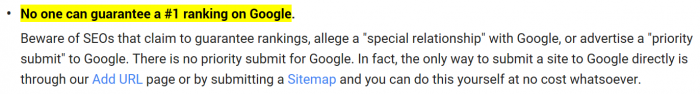 No SEO guarantees per the Google Guidelines