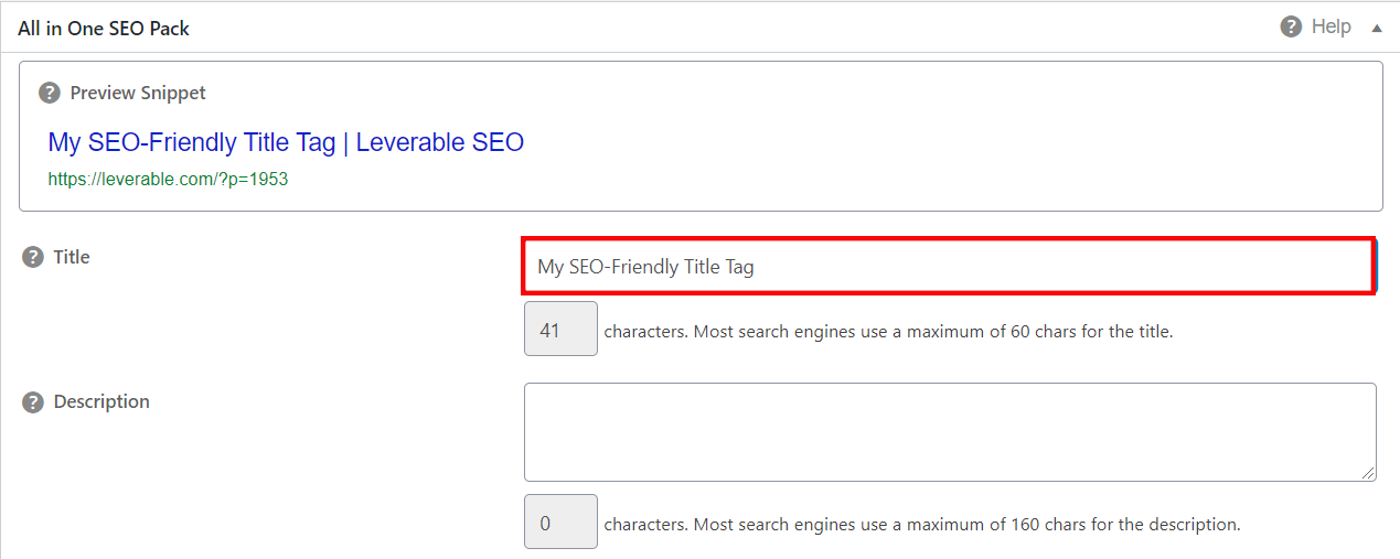 Preview a SERP snippet with AIOSEO