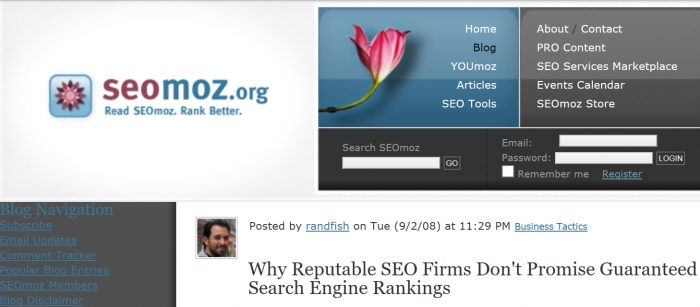 Rand's Famous Post on SEO Gurantees