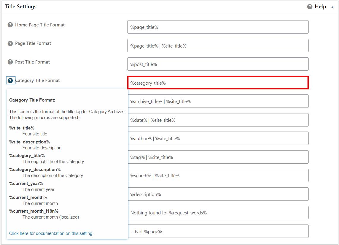 Advanced title tag settings AIOSEO