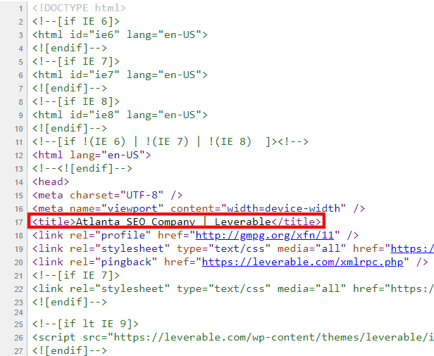 Where title tags appear in HTML code