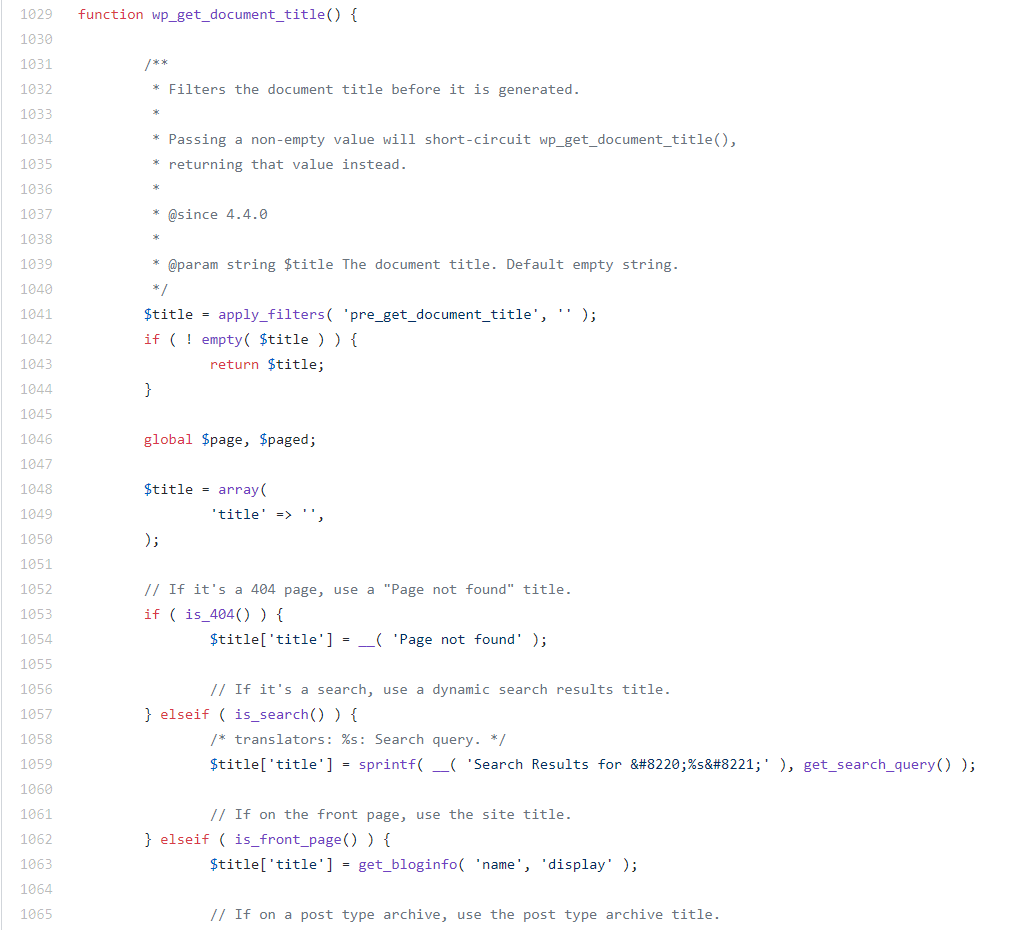 The wp_get_document_title function