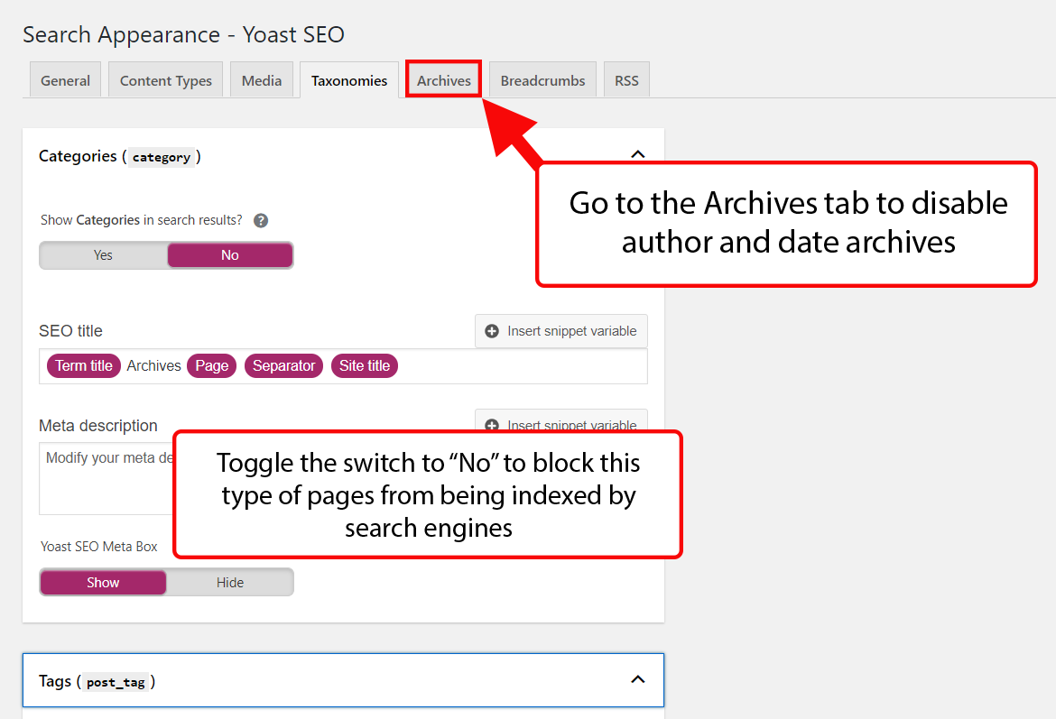 Denying search engines access to taxonomy pages in Yoast SEO